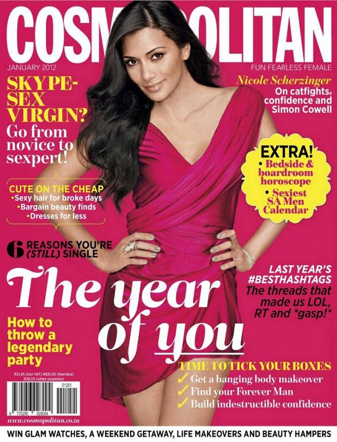 Nicole Scherzinger in pink for the cover of Cosmopolitan South Africa, January 2012