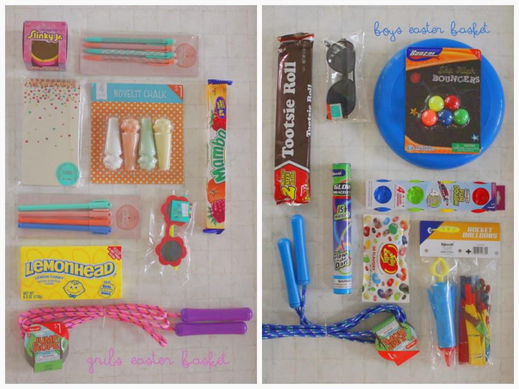 slinky, chalk, pens, paper, lemon head, jump rope, tootsie roll, frisbee, sunnies, glasses, ball, balloons, easter basket