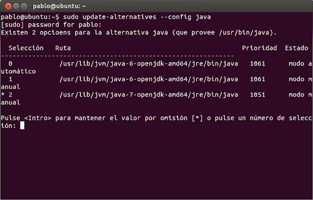 Elección de máquina virtual JVM JRE en Ubuntu