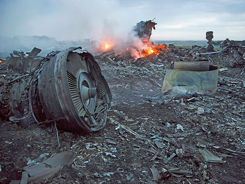 Wreckage from Malaysia Airlines Flight 17 after it was shot down over Ukraine on July 14, 2014. US Intel Vets think the US went silent on the issue when their intelligence data didn't support blaming Ukraine rebels and Russia.