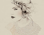 Lace girl fashion illustration Australian 8x10 print