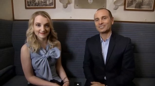 Evanna Lynch and Terry Coup on Hogwarts Express