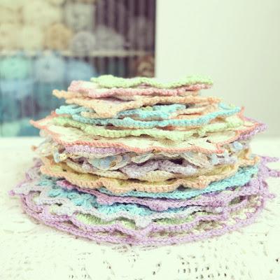 ByHaafner, crocheted doilies, pastel, crochet, stack, yarn, craftroom