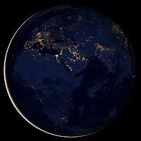 Африка и Европа ночью из космоса