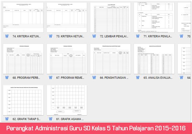 Perangkat Administrasi Guru SD Kelas 5 Tahun Pelajaran 2015-2016