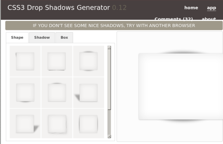 CSS3 Drop Shadows Generator