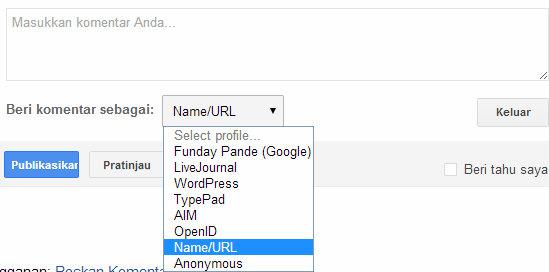 Cara komen dengan name/url