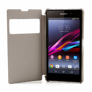 S View Leather Flip Cover with Transparent Back Case for Sony Xperia Z1 C6903 L39h - Black
