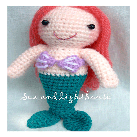 Crochet Patterns Mermaid : Crochet pattern - Mermaid Sea and lighthouse Dolls