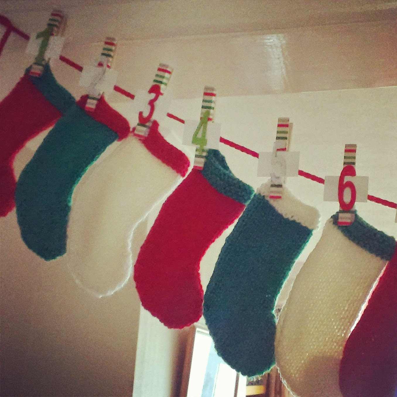 Knitted advent stockings