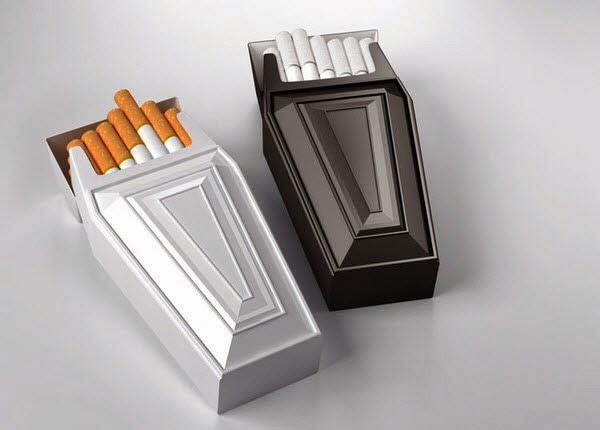 Embalagem sugestivas para fumantes que devem largar o cigarro.