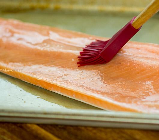 Freezer to oven alaska keta salmon pescetarian journal 240 pm frozen salmon on oiled baking tray and brushed with oil ccuart Choice Image