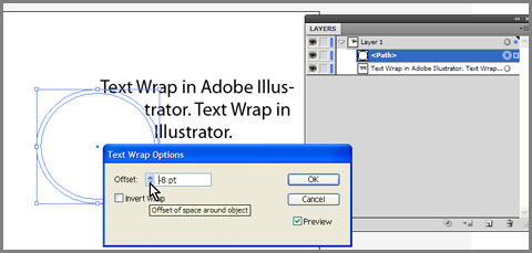 With path selected go to Object > Text Wrap > Text Wrap Options.. to offset wrap area