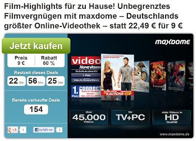 Maxdome-Gutschein für 1 Monat Premium-Paket und Blockbuster-Option bei DailyDeal für 9 Euro