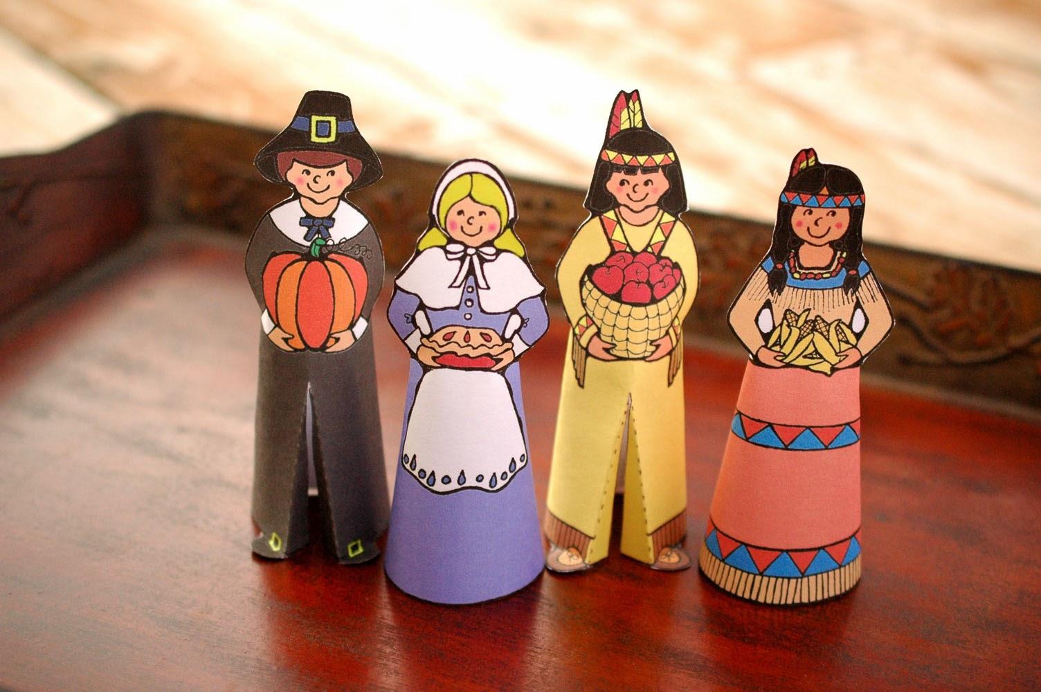 Pilgrim And Indian Paper Dolls