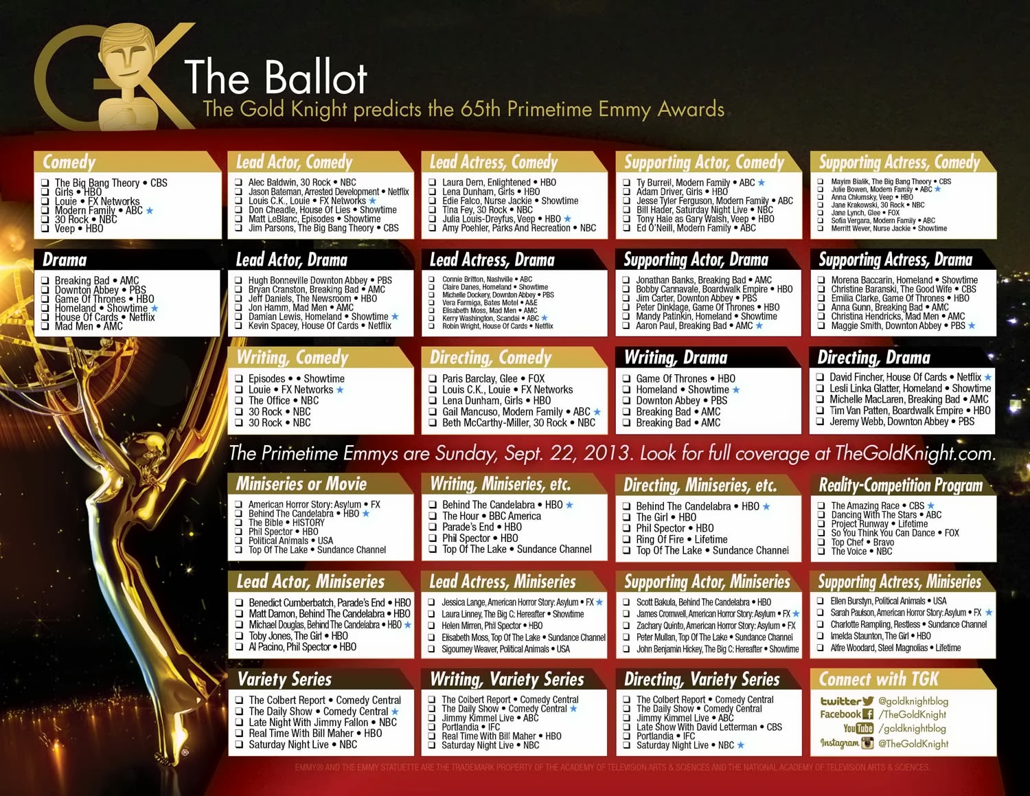 picture relating to Printable Ballot called 2013 Primetime Emmy Awards printable ballot The Gold