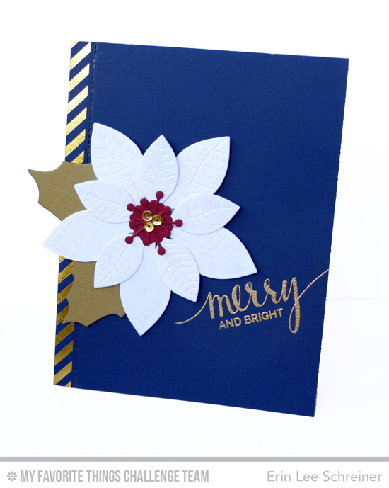 Merry Poinsettia Card by Erin Lee Schreiner featuring the Hand Lettered Holiday stamp set and Poinsettia Die-namics #mftstamps