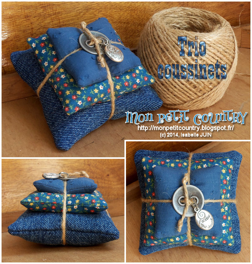 Trio country (tuto coussinet - pincushion)
