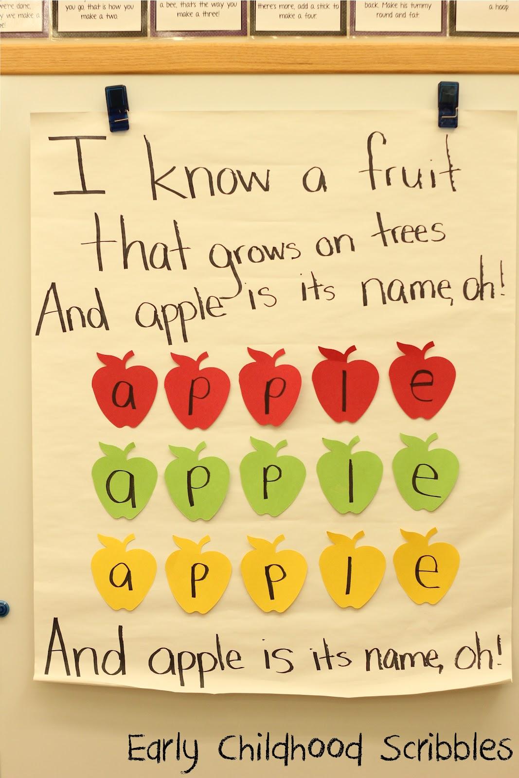 apple songs preschool early childhood scribbles apples 239