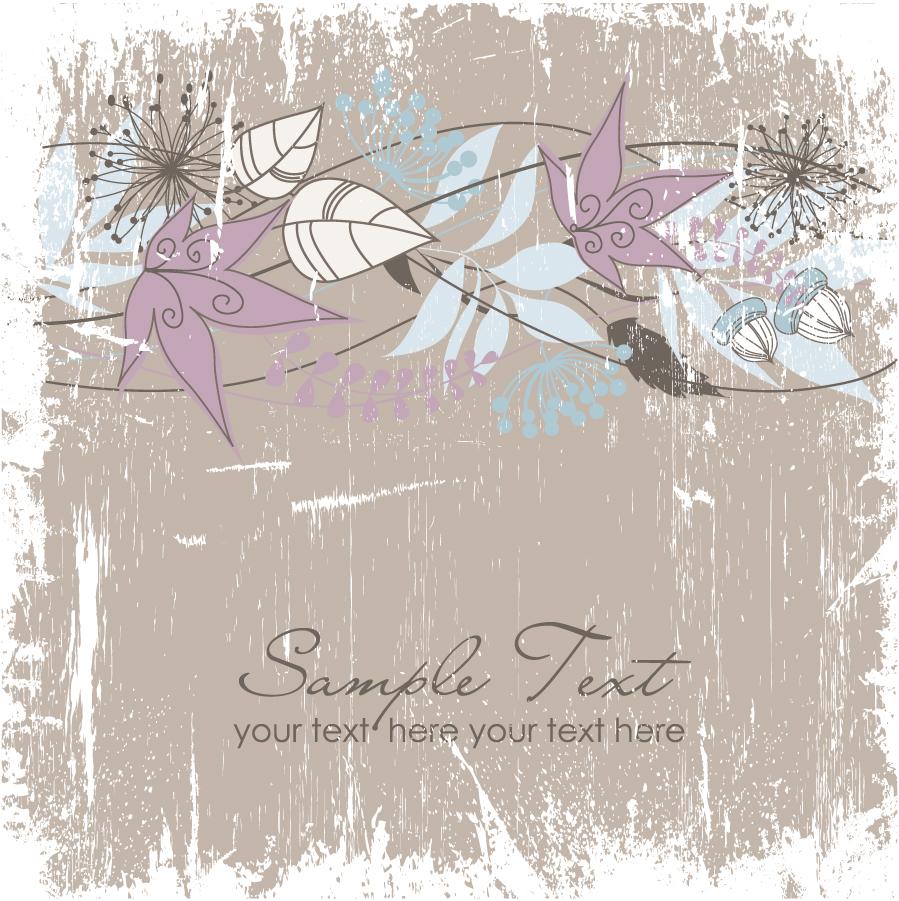 グランジスタイルの枯れ葉の背景 Hand-painted illustration background イラスト素材