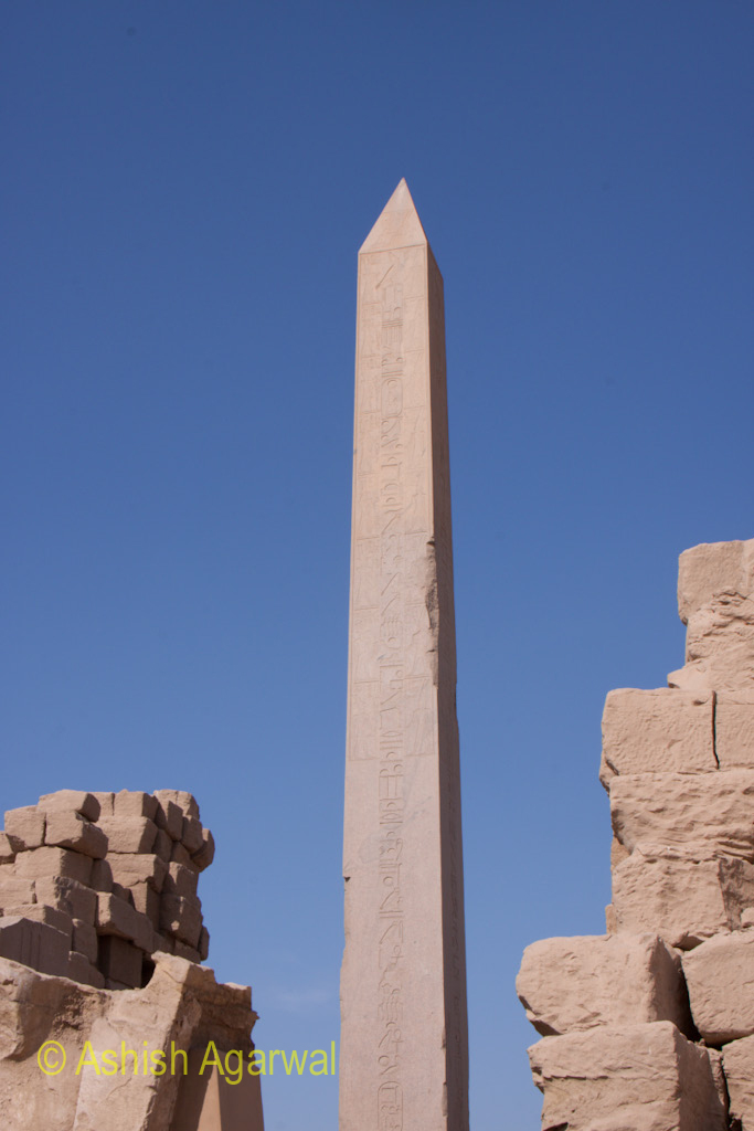 The sheer view of the structure of the Obelisk inside the Karnak temple