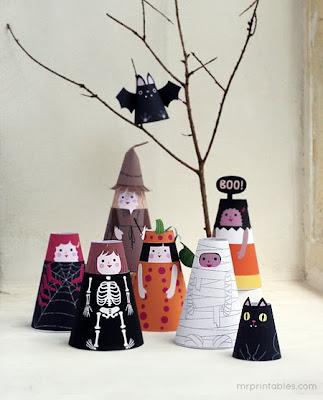 bonecas cone de papel halloween para imprimir e montar