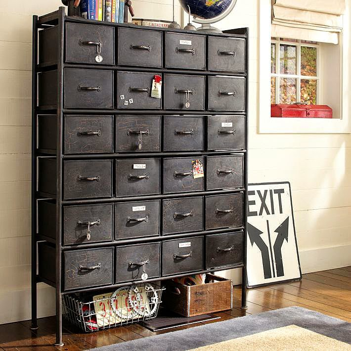 Rockwell+Metal+Chest+of+Drawers+in+an+antique,+industrial +style.+S+PB+Teen