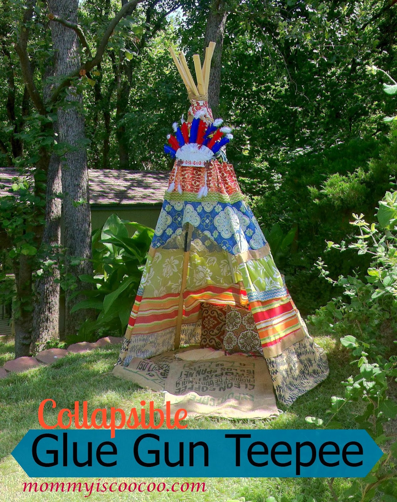 collapsible, glue gun teepee, kids teepee, from mommy is coocoo