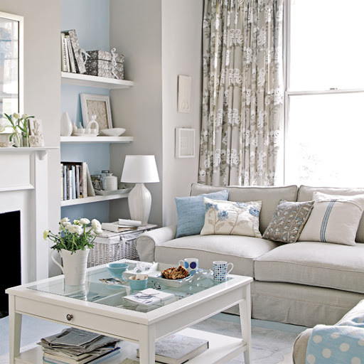 Coastal Living Room Idea Beach Theme Gray Blue Color Combination