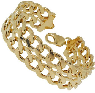 Carissima Gold 9 ct Yellow Gold Two-Row Diamond Cut Curb Bracelet of 21 cm 8.5-inch on www.yngoo.com