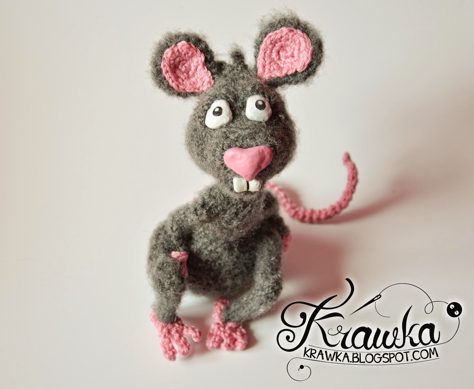 Krawka: Handmade crochet grey rat with pink nose. Cartoon rat character