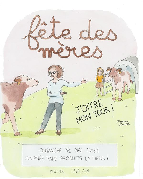 Pour que ce jour soit la fête de toutes les mères, laissons les veaux téter le lait qui leur revient !