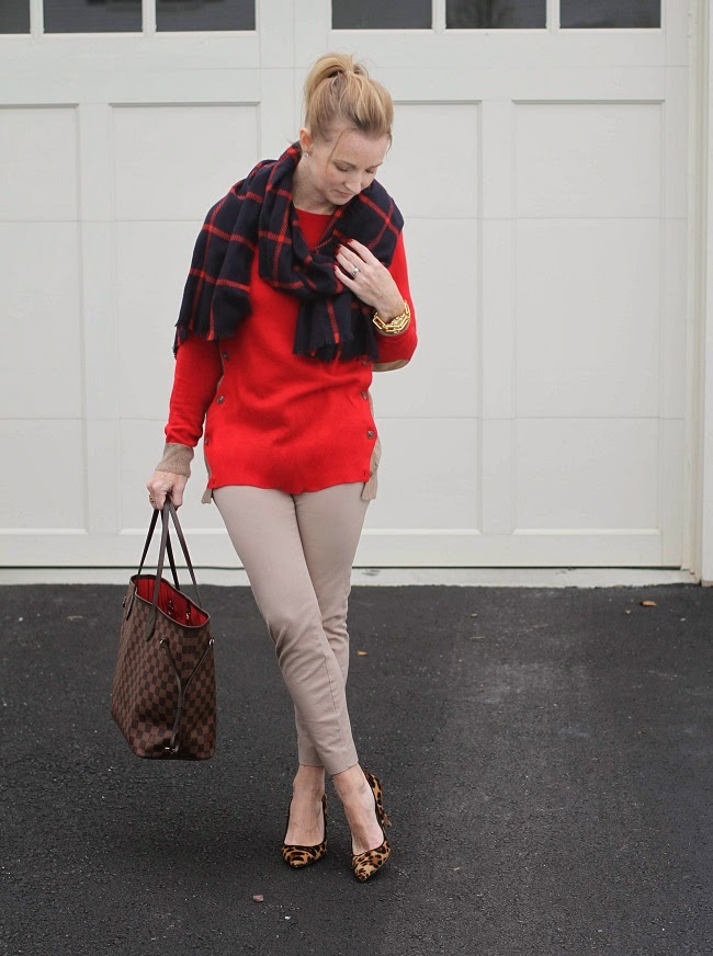 merona scarf, jcrew sweater, old navy pixie pants, jcrew leopard heels, louis vuitton neverfull