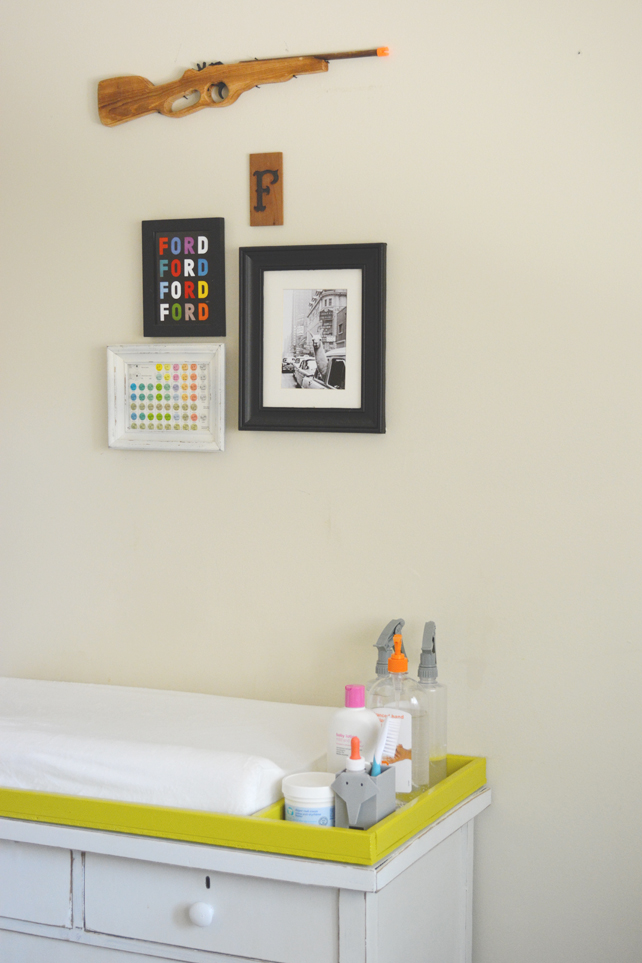Ford's Baby Boy Nursery Gallery Wall Above Change Table - Interior Design by Lesley Myrick, Pasadena Interior Designer