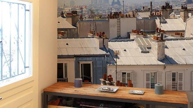 papier peint photo vu sur les toits en zinc de Paris