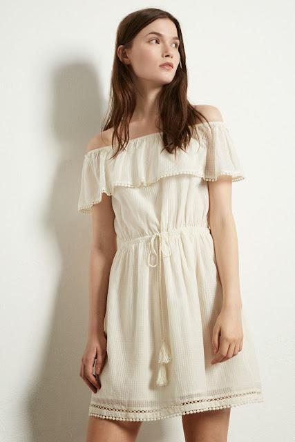 cream gyspy dress, warehouse cream dress,