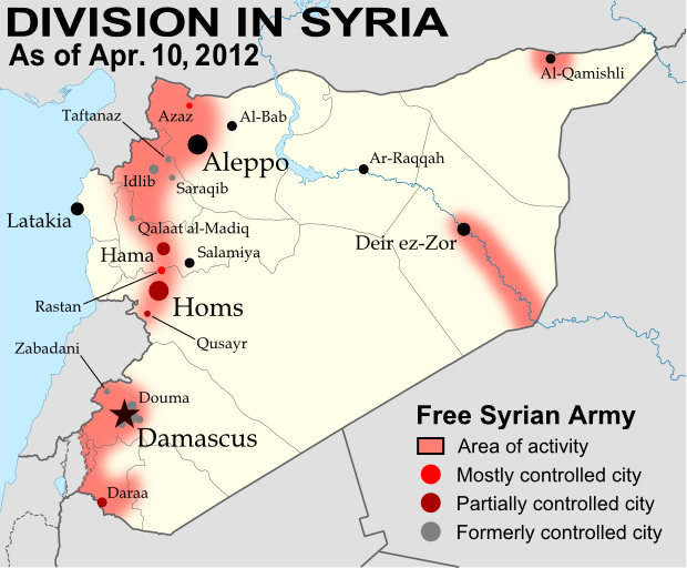 Map of Syria, showing control by the rebel Free Syrian Army as of April 10, 2012