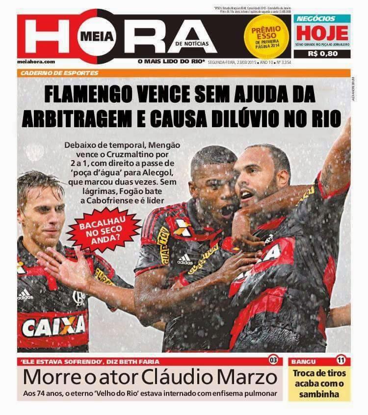 Jornal afirma que vitória do Flamengo sem ajuda de arbitragem provocou dilúvio no Rio