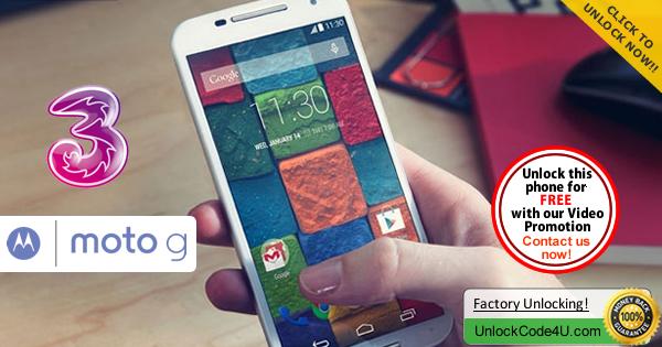 Factory Unlock Code Motorola Moto G 3Generation from Three Network
