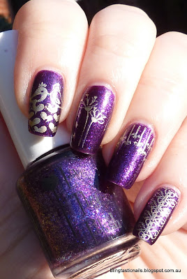 Love Thy Polish Wildheart with Essie Good as Gold stamping