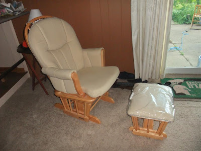 smooth rocking chair and ottoman, salvation army, padded, cushon