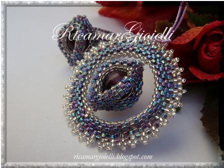 Ciondolo e anello doppio ovale in peyote con perla occhi di gatto