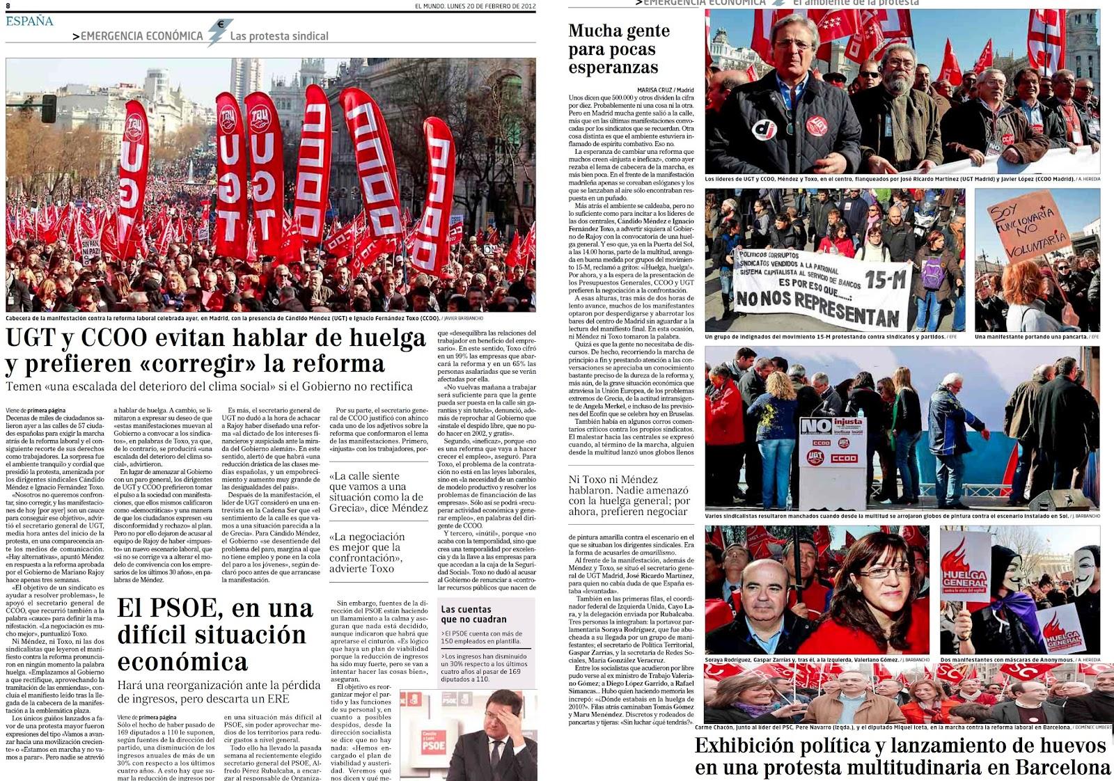UGT y PSOE azuzan a la gente contra el PP por la ruina laboral y financiera que ellos dejaron