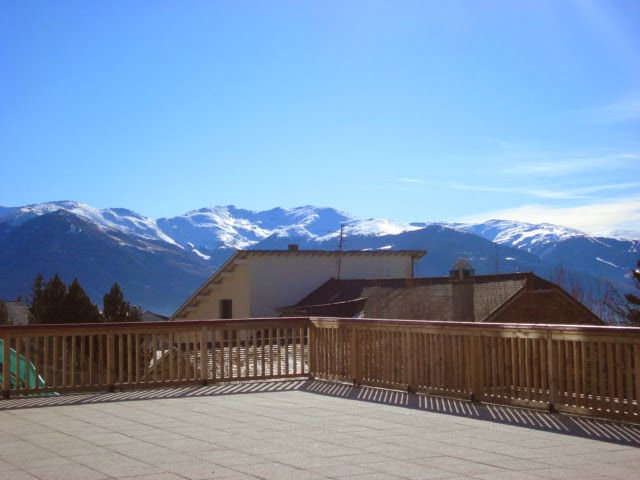 Terrace views from Le Domaine de Castella, ski accommodation Font Romeu