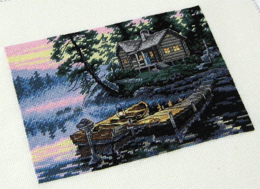 Схема вышивки утро на озере 5