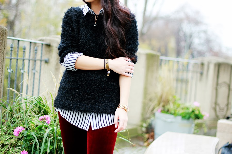 flauschiger Pullover Outfit