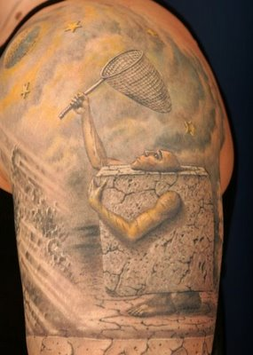 arm chest tattoo.arm and chest tattoo