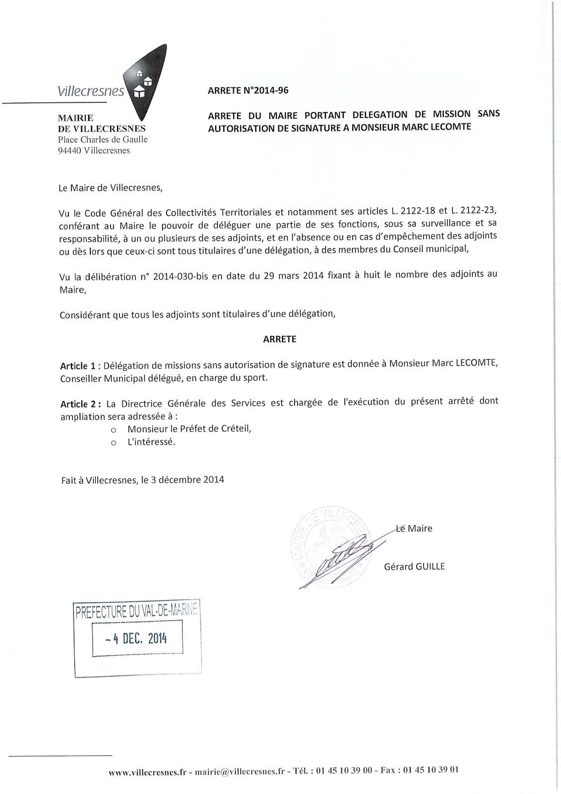 2014-096 Délégation de fonction mission sans autorisation de signature à Monsieur Marc Lecomte
