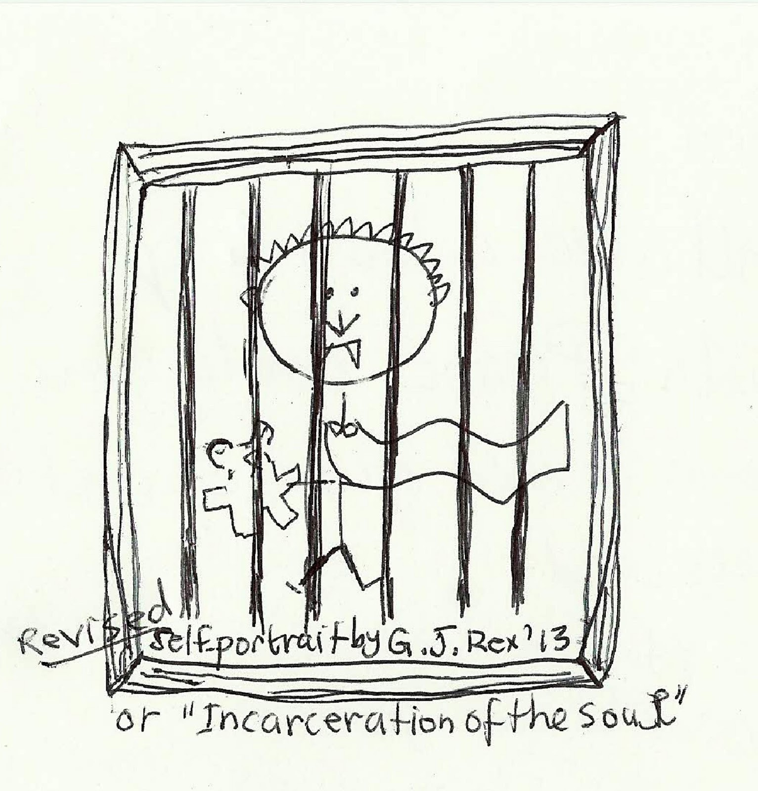 Stick-figure sketch of a vampire baby and teddy bear behind bars.