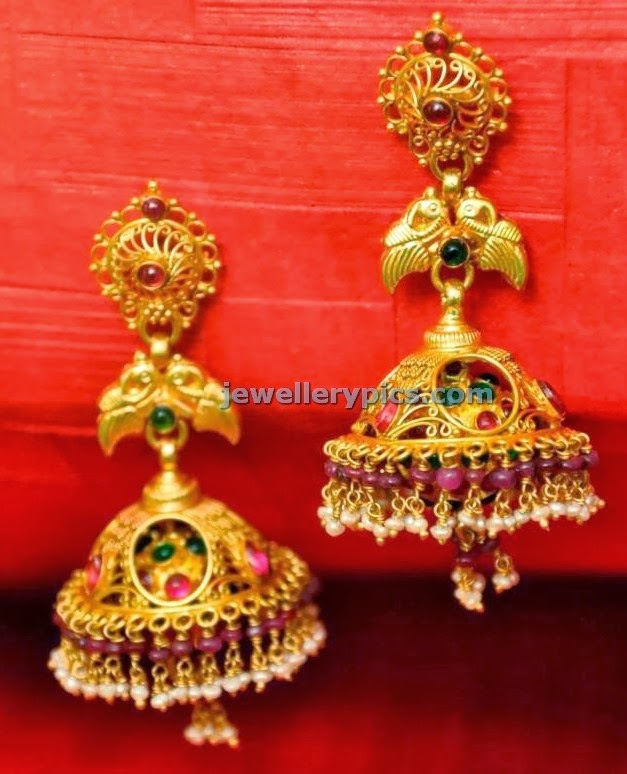 nested gold jhumka s jewellery designs